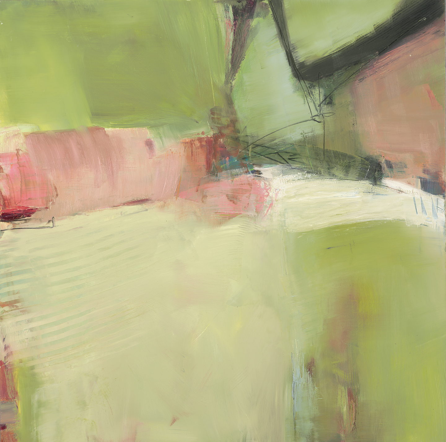 Layers of pink and pale green oil paint create this strong, yet delicate abstract painting.