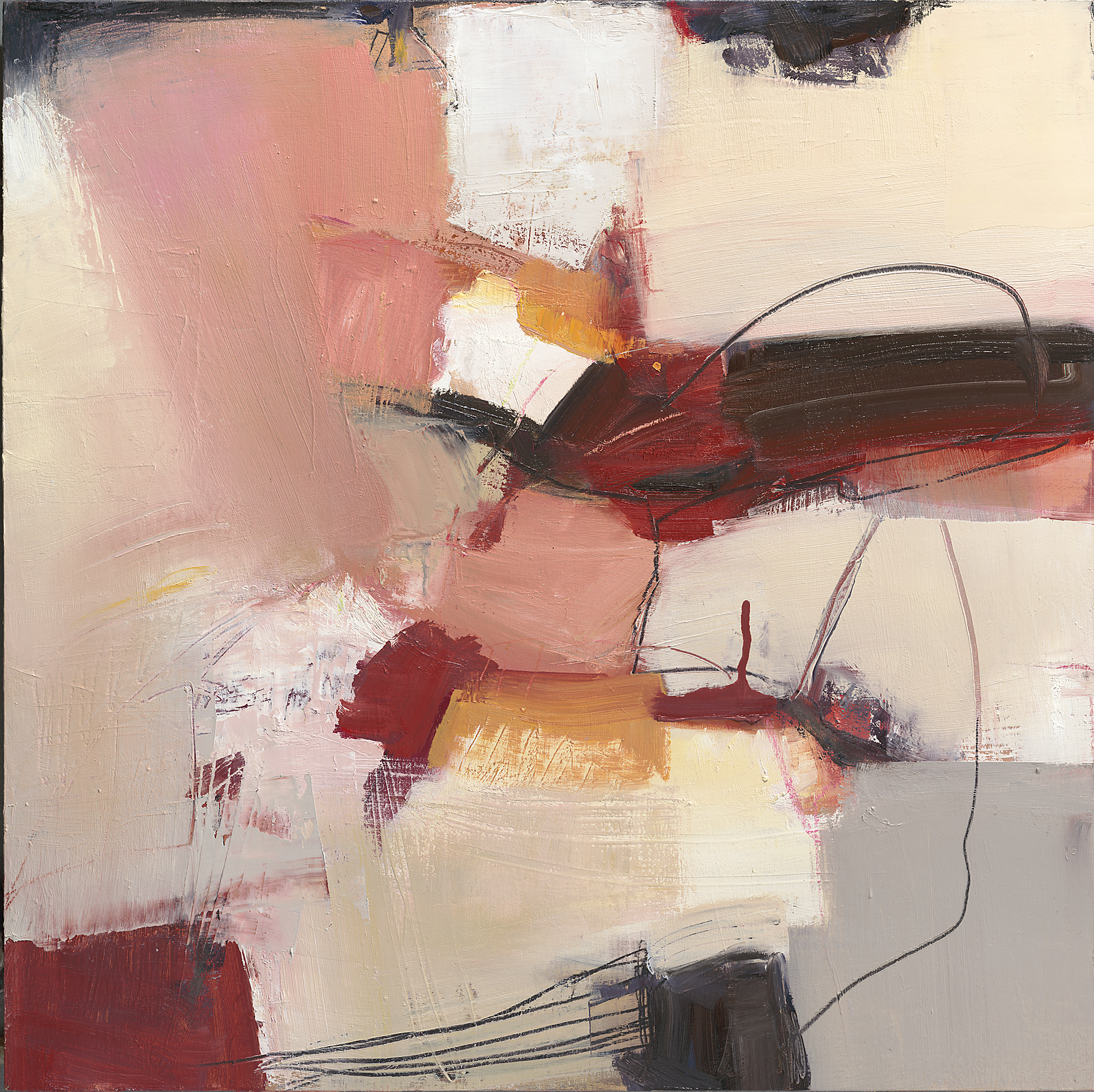 Pink and red abstract oil painting evoking the riotous movement of Spring bursting into bloom.
