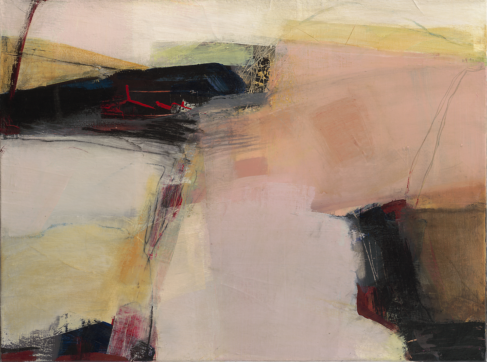 This abstract landscape is composed with many layers of pale pinks and yellow with strong dark areas giving structure to the soft fields of color.