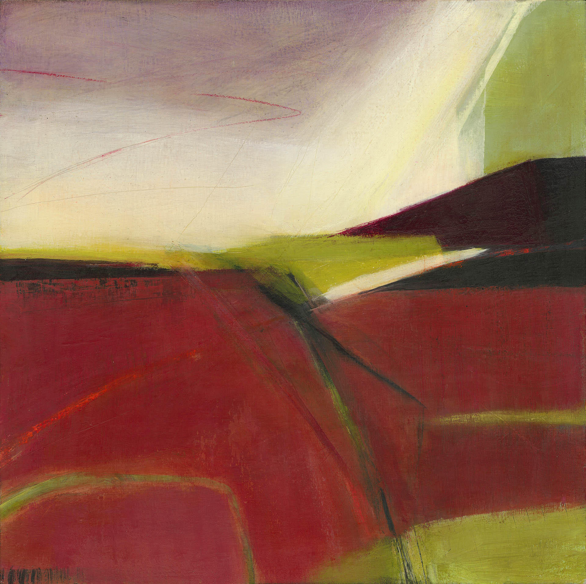Red and green painting with strong geometric shapes and a soft violet sky.