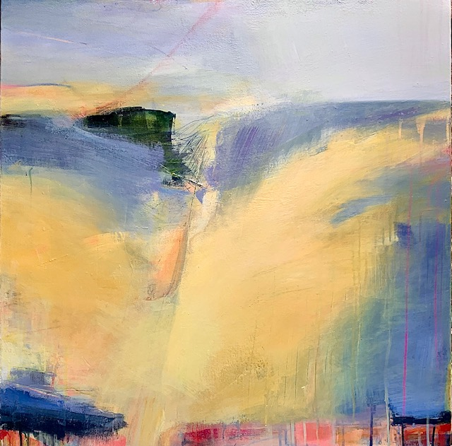 An abstract landscape using yellow, blue and gold evoking a ridge overlooking a vast meadow in the mountains of Northern California.