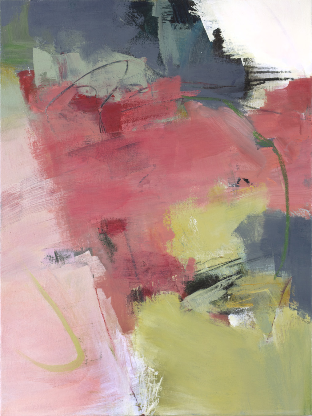 Carol Jenkins abstract painting with pinks and sage green.