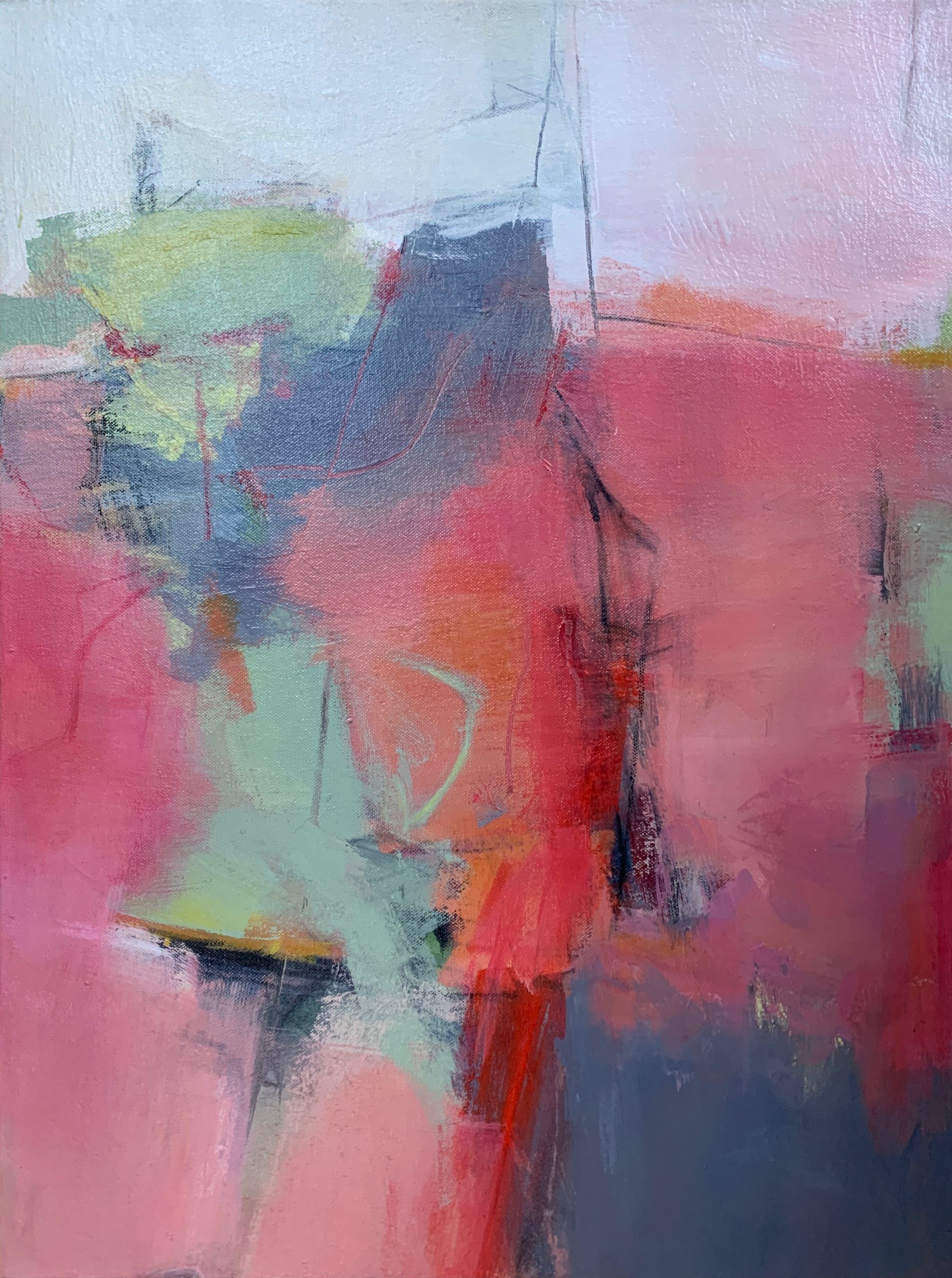 Reds and pinks and sage green create this abstract painting that is named for an actual plant with the mellifluous name: Hummingbird Sage.