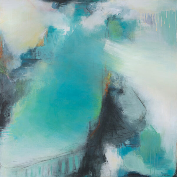 Carol Jenkins large abstract painting with exciting marks and beautiful blues and greens.