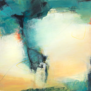 Large turquoise and pale orange abstract painting inspired by the spillover from Lake Siskiyou down a long narrow canyon.