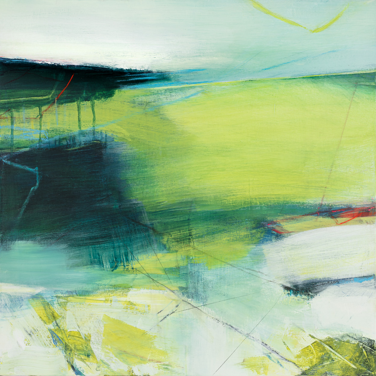 The blues and greens of this abstract landscape by Carol Jenkins give a sense of water dripping through branches and fresh leaves in Spring.