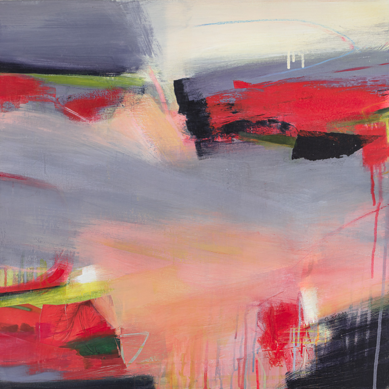 Carol Jenkins Confetti Sunset is an abstract landscape in greys, pinks and reds with strong diagonal movement.