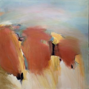 Carol Jenkins painted this large abstract landscape with orange, pinks and yellow under a pale blue-green sky.