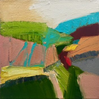 Small bright oil painting using pinks and turquoise to depict an abstract landscape.