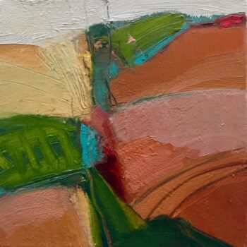 Small bright abstract landscape using pinks and oranges with a splash of turquoise. Works well as a pair with Turquoise Gully.